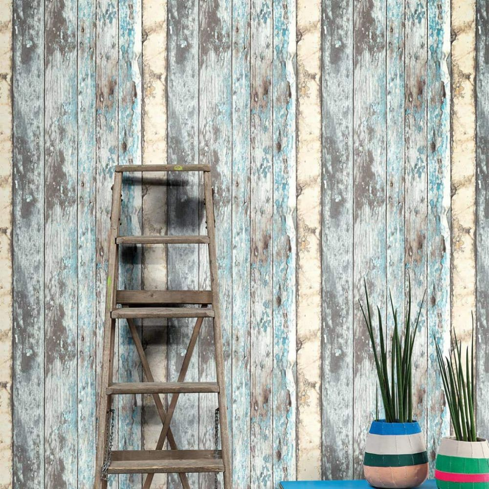Grandeco Rustic Wood Blue PE-10-01-2 Wallpaper